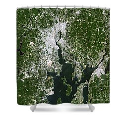 Satellite View Of The Pawtucket Shower Curtain by Stocktrek Images