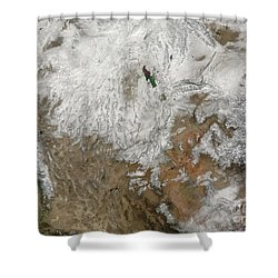 Satellite View Of The Western United Shower Curtain by Stocktrek Images