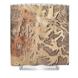 Satellite View Of Wadi Rum Shower Curtain by Stocktrek Images