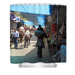 Scene At The Climbing Path Leading To The Vaishno Devi Shrine In Jammu And Kashmir State In India Shower Curtain by Ashish Agarwal