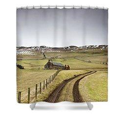 Scottish Borders, Scotland Tire Tracks Shower Curtain by John Short