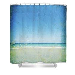 Sea And Sky On Old Paper Shower Curtain by Setsiri Silapasuwanchai