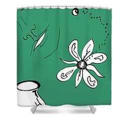 Serenity In Green Shower Curtain by Mary Mikawoz