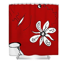 Serenity In Red Shower Curtain by Mary Mikawoz