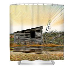 Shed In The Field Shower Curtain by Vickie Emms