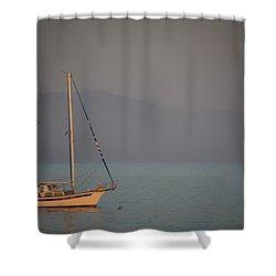 Ship In Warm Light Shower Curtain by Ralf Kaiser