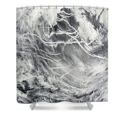 Ship Tracks In The Pacific Ocean Shower Curtain by Stocktrek Images