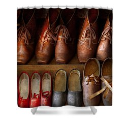 Shoemaker - Shoes Worn In Life Shower Curtain by Mike Savad