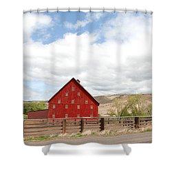 Shutters Red Shower Curtain by Sara Stevenson