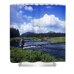 Side Profile Of A Man Fly-fishing In A Shower Curtain by The Irish Image Collection