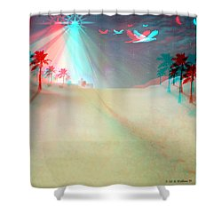 Silent Night - Red And Cyan 3d Glasses Required Shower Curtain by Brian Wallace