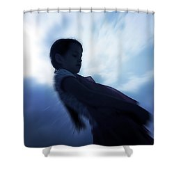 Silhouette Of A Girl Against The Sky Shower Curtain by Joana Kruse