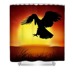 Silhouette Of Eagle Shower Curtain by Setsiri Silapasuwanchai