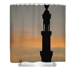 Silhouette Of Mosque At Dawn Shower Curtain by Axiom Photographic