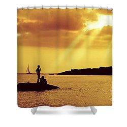 Silhouettes On The Beach Shower Curtain by Carlos Caetano