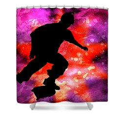 Skateboarder In Cosmic Clouds Shower Curtain by Elaine Plesser