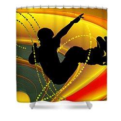 Skateboarding In The Bowl Silhouette Shower Curtain by Elaine Plesser