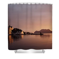 Skyline Of Town At Dusk Shower Curtain by Axiom Photographic