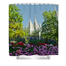 Slc Temple Flowers Shower Curtain by La Rae  Roberts