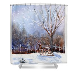 Sleigh Ride Shower Curtain by Wendy Cunico