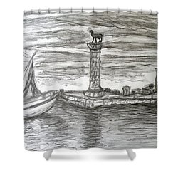 Small Boats At Rhodes Port Shower Curtain by Augusta Stylianou