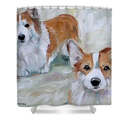 Smarty And Rosie Shower Curtain by Mary Sparrow