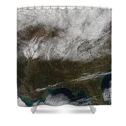 Snow Cover Stretching From Northeastern Shower Curtain by Stocktrek Images