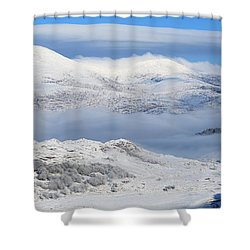 Snow Covered Landscape In Winter Near Shower Curtain by Peter Zoeller