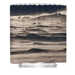 Snow Drift Over Winter Sea Ice Shower Curtain by Antarctica