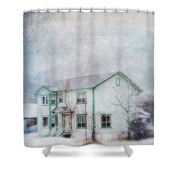 Snow Flurry 'round My Neighbor's House Shower Curtain by Priska Wettstein