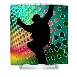 Snowboard In Cosmic Snowstorm Shower Curtain by Elaine Plesser
