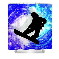 Snowboarder In Whiteout Shower Curtain by Elaine Plesser