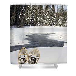 Snowshoes By Snowy Lake Lake Louise Shower Curtain by Michael Interisano