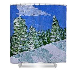 Snowy Pines Shower Curtain by Heidi Smith