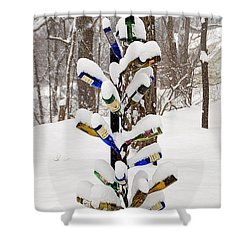 Snowy Wine Bottle Sculpture Shower Curtain by Aimee L Maher Photography and Art Visit ALMGallerydotcom