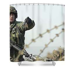 Soldier Calls Out Approaching Locals Shower Curtain by Stocktrek Images