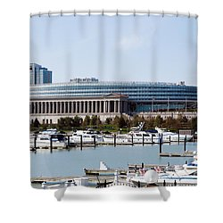 Soldier Field Chicago Shower Curtain by Paul Velgos