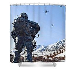 Soldier Patrols Through Alaska's Shower Curtain by Stocktrek Images