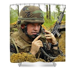 Soldier Using A Ta-1 Sound Powered Shower Curtain by Stocktrek Images