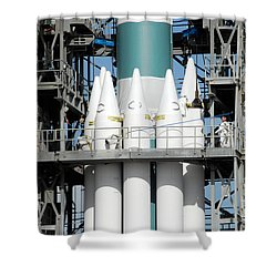 Solid Rocket Boosters Are Attached Shower Curtain by Stocktrek Images