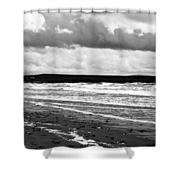 Solitary Man On A Lonely Beach Shower Curtain by Georgia Fowler