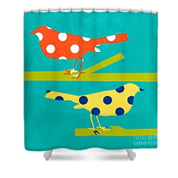 Song Birds Shower Curtain by Linda Woods