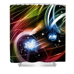 Space Shower Curtain by Les Cunliffe