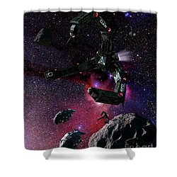 Space Scene Inspired By The Novels Shower Curtain by Rhys Taylor
