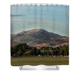 Sport Complex And The Butte Shower Curtain by Robert Bales