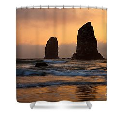 Stacks Of Gold Shower Curtain by Mike  Dawson