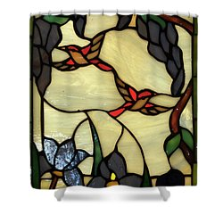 Stained Glass Humming Bird Vertical Window Shower Curtain by Thomas Woolworth