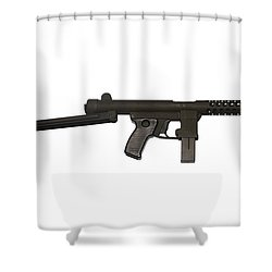 Star Z70b 9mm Submachine Gun Shower Curtain by Andrew Chittock