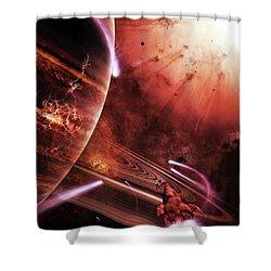 Starships Hone Their Skills Shower Curtain by Brian Christensen