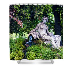 Statue In The Woods Shower Curtain by Fabrizio Troiani